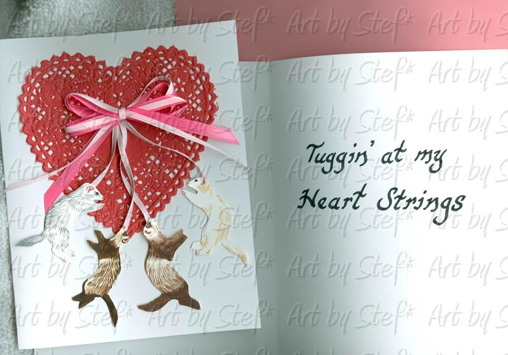 Collectables; Tuggin at my Heart Strings; Handmade Ferret Valentine Card; Stef