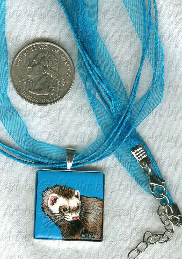 Collectables; Turquoise Voile Necklace; Handpainted Tile; Stef