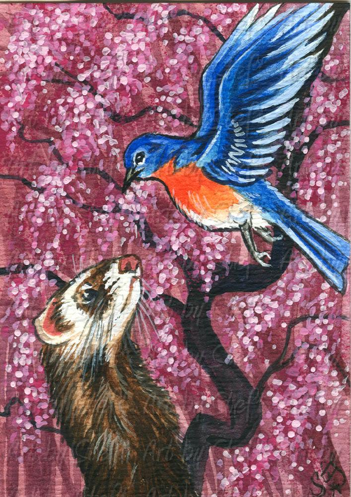 Collectables; Voices in the Sky; Watercolor ACEO Painting; Stef