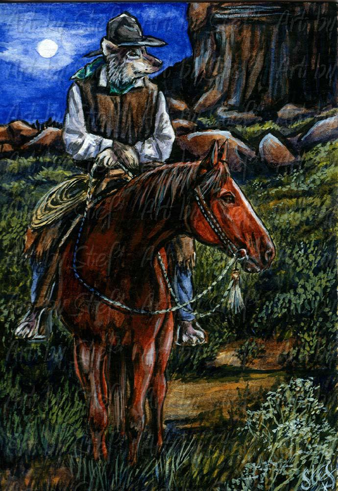 Whimsical; What Ever Happened to Randolph Scott?; Watercolor and acrylic ACEO; Stef