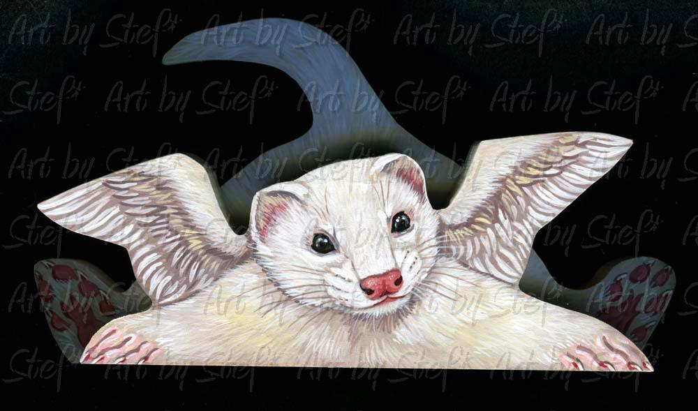 Collectables; White Ferret Angel Sill Sitter; Sill sitter; Stef