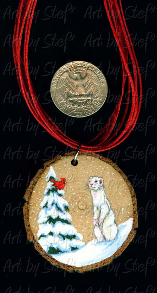 Collectables; White Ferret Cardinal Tree Wood Slice Pendant; Handpainted Wood Ornament; Stef