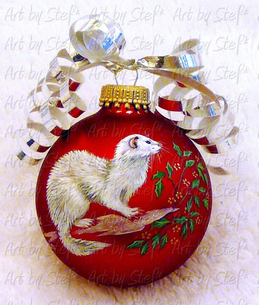 Collectables; White Ferret on Red Satin Christmas Ball; Handpainted Ornament; Stef