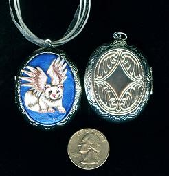 Collectables; White Ferret Silvertone Locket; Handcrafted Locket; Stef
