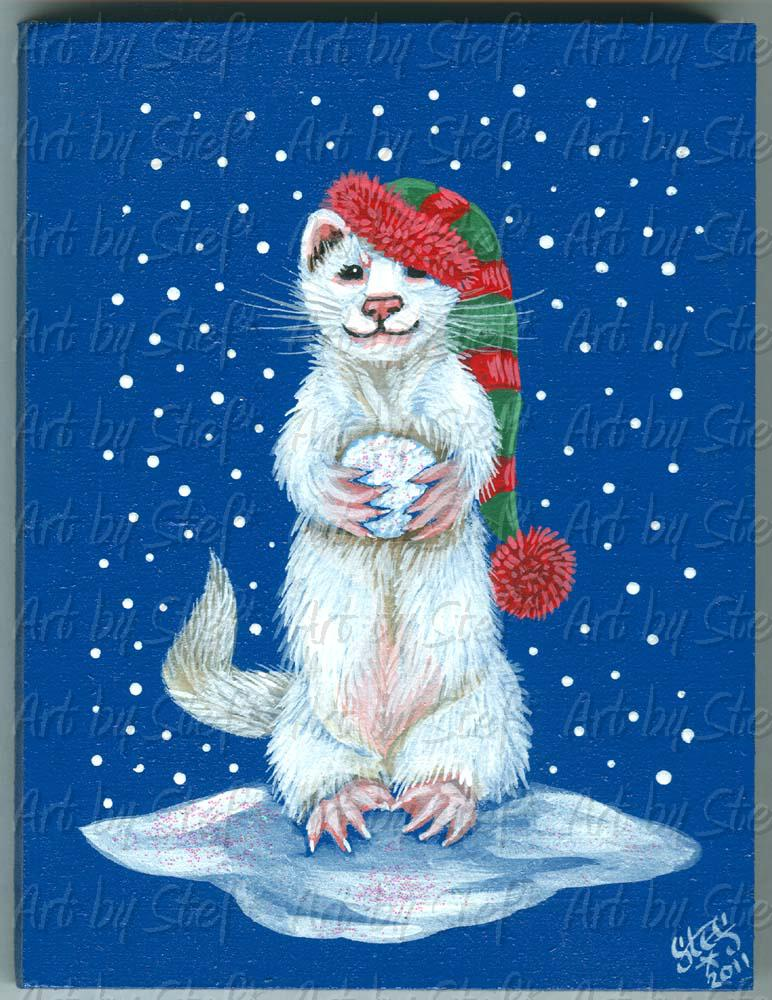 Collectables; White Ferret with Snowball Folk Art; Painting on Masonite; Stef