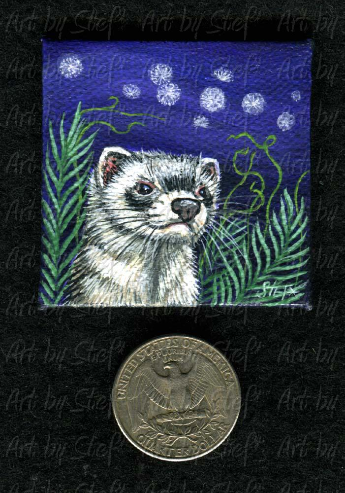 Ferrets; Wishys Miniature Painting; Handpainted Miniature; Stef
