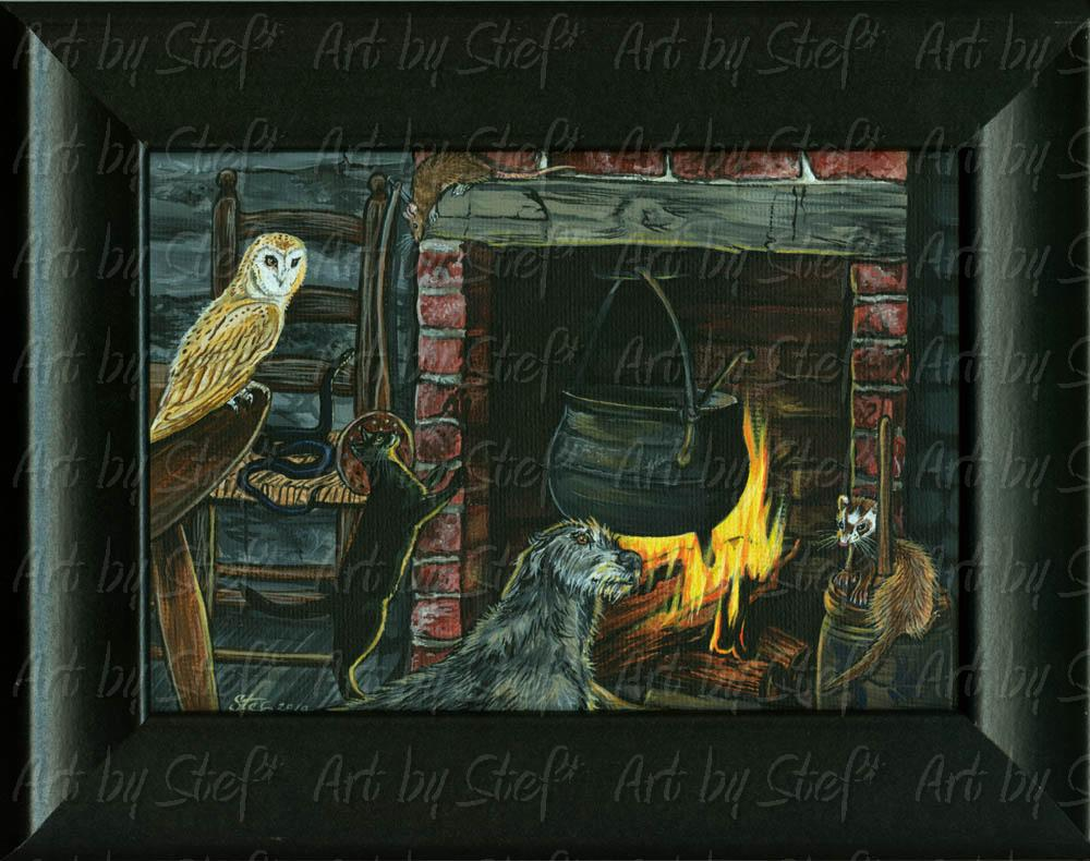 "Rustic; Witch's Cottage; Acrylic on 5""x7"" canvas panel, framed; Stef"