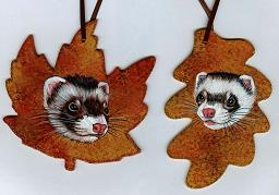 Collectables; Wood Leaf Pair Set C; Handpainted Wooden Ornaments; Stef