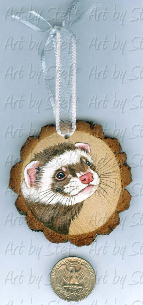 Collectables; Wood Slice Ornament A; Handpainted Wood Ornament; Stef