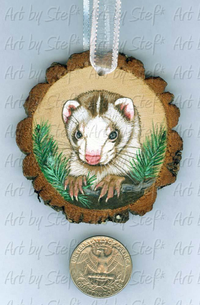 Collectables; Wood Slice Ornament B; Handpainted Wood Ornament; Stef