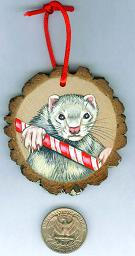 Collectables; Wood Slice Ornament C; Handpainted Wood Ornament; Stef