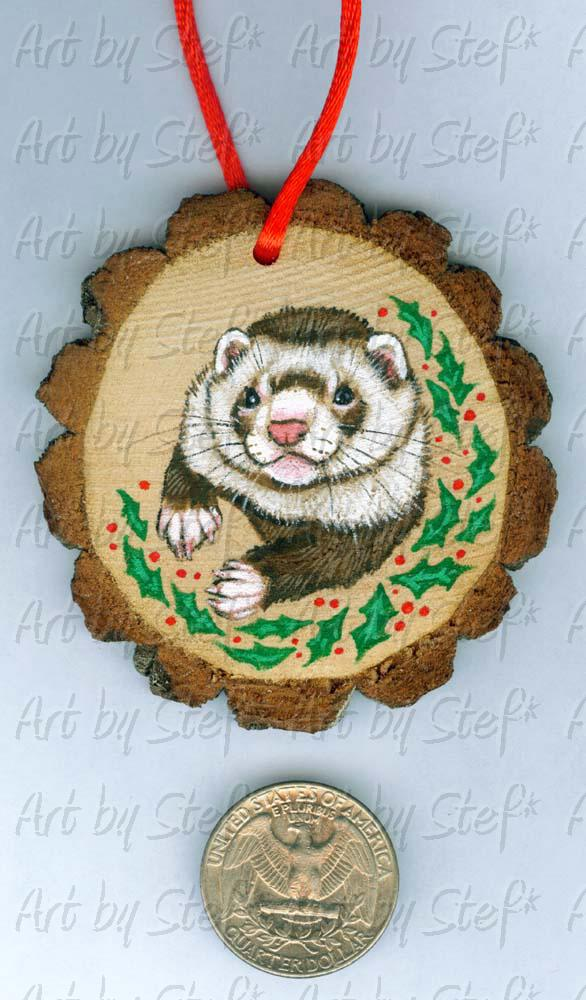 Collectables; Wood Slice Ornament D; Handpainted Wood Ornament; Stef