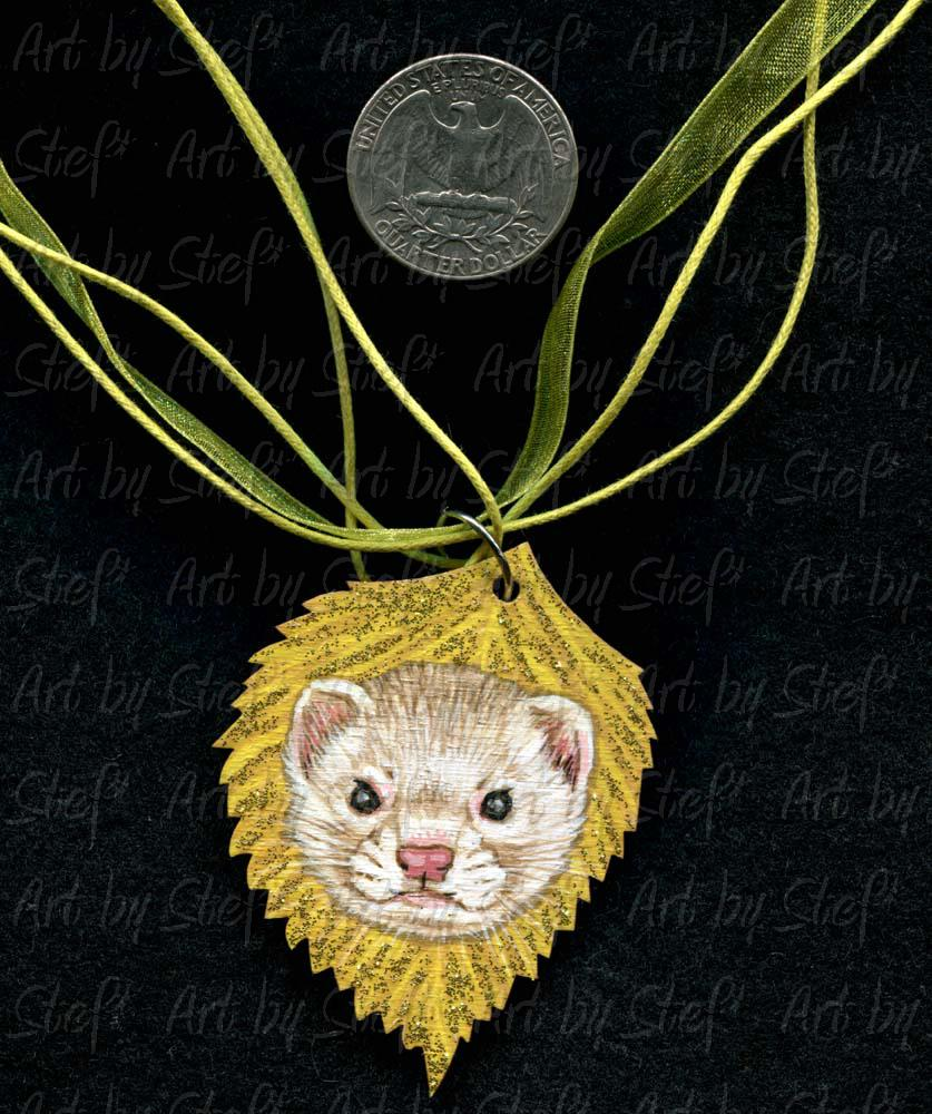 Collectables; Yellow Birch Ferret Pendant; Handpainted Wood Pendant; Stef