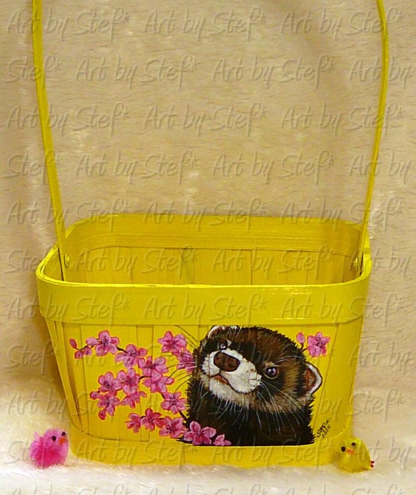 Collectables; Yellow Spring Basket; Handpainted basket; Stef